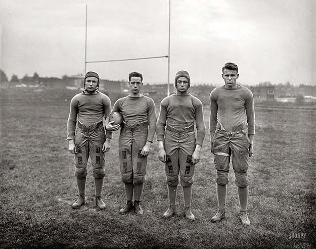"Members of the ""Stealth "" football squad at Gallaudet University, 1920. It was the first university for the deaf and they started the idea of the football huddle so other teams couldn't see their signs"