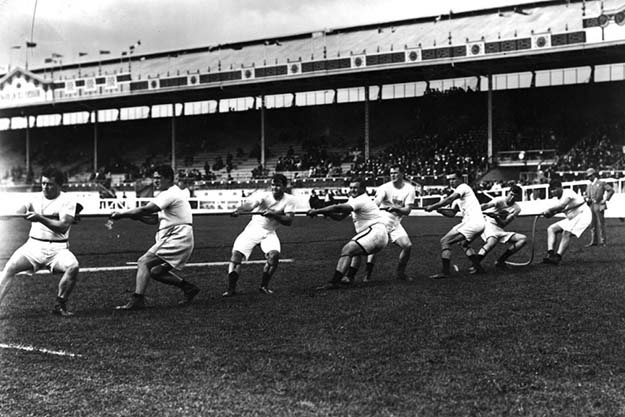 USA men's tug of war team, 1908 Olympics in London