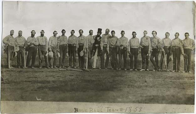 The first ever team photo in baseball history, 1858