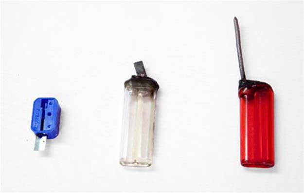Weapons: pencil sharpener and a couple lighters