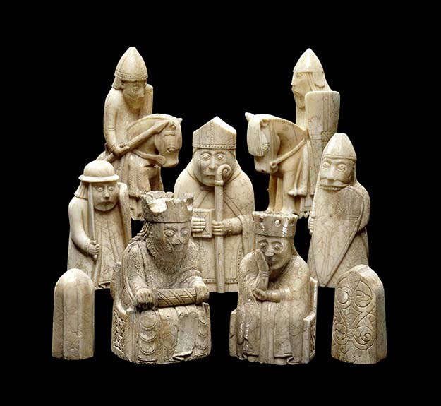 Lewis chessmen – 12th century chess pieces, most of which are carved in walrus ivory.