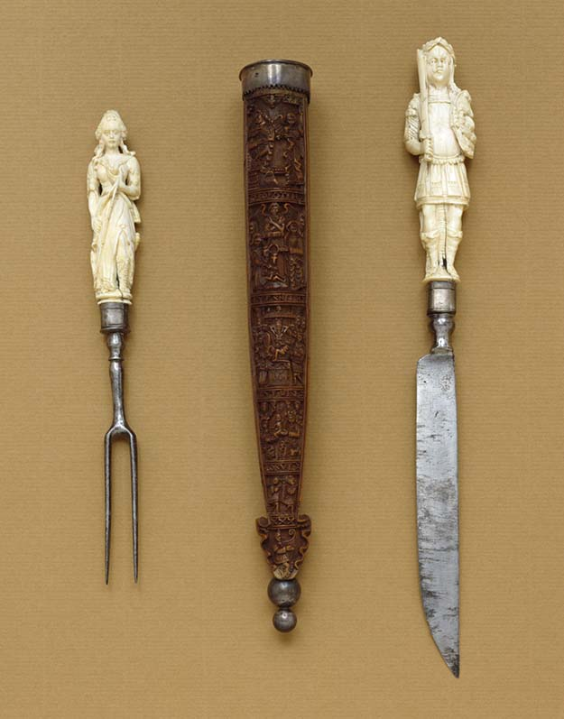 Knife-and-Fork Set with Mars and Diana, ivory and iron 1650-1690