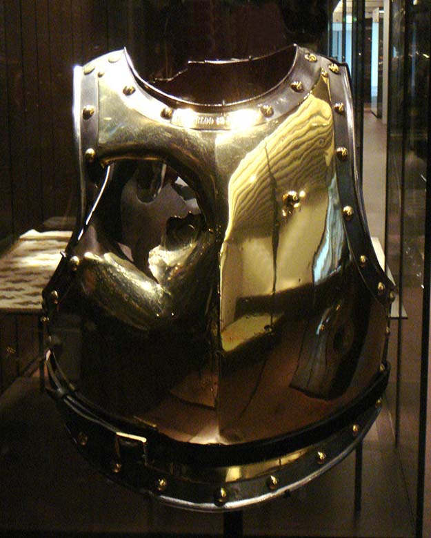 Cuirass holed by a cannonball at Waterloo