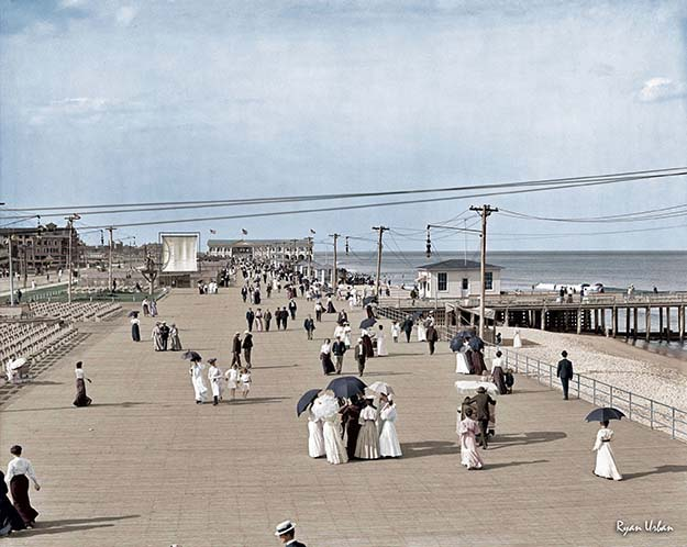 "The Jersey Shore circa 1905. ""Boardwalk at Asbury Park."""