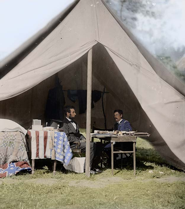 President Lincoln meeting with General 'Little Mac' McClellan in the General's tent at Antietam in the wake of his controversial decisions, September 1862