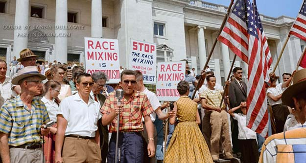 Little Rock, AR protest against the integration of 9 black students into a white school. 1959