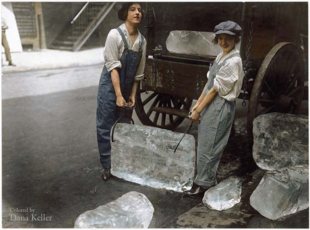 """Girls deliver ice."" September 16, 1918"
