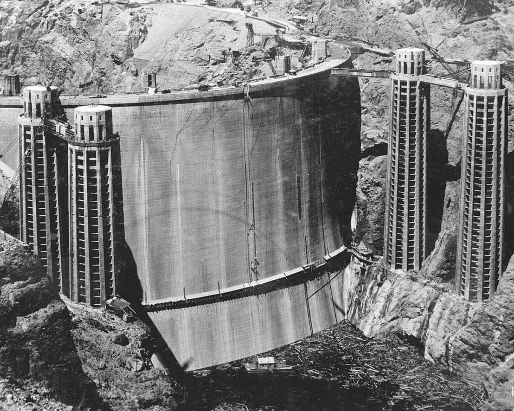 The rarely seen back of the Hoover Dam before it filled with water 1936