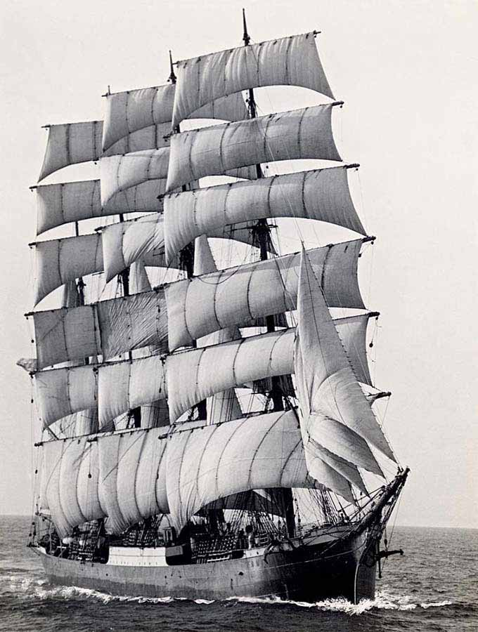 The world's last commercial sailing ship, The Pamir, rounding Cape Horn for the last time in 1949