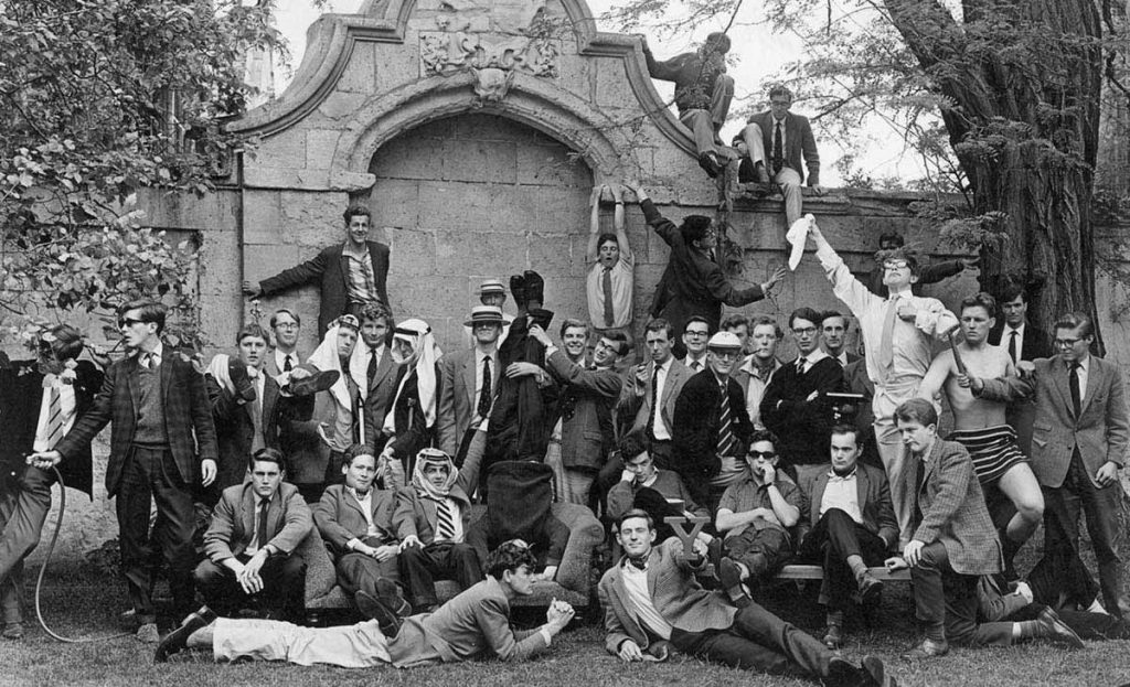 Members of the Oxford University Boat Club pose for a photograph, early 1960s (Stephen Hawking with handkerchief)