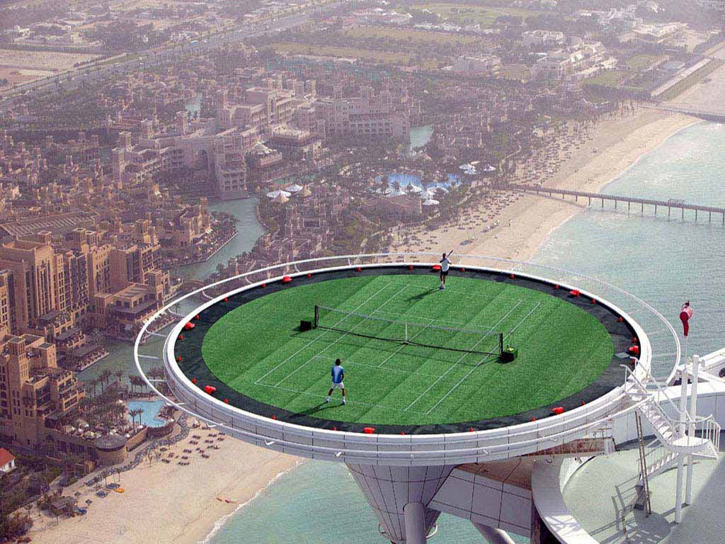 A tennis court on top of a Dubai tower