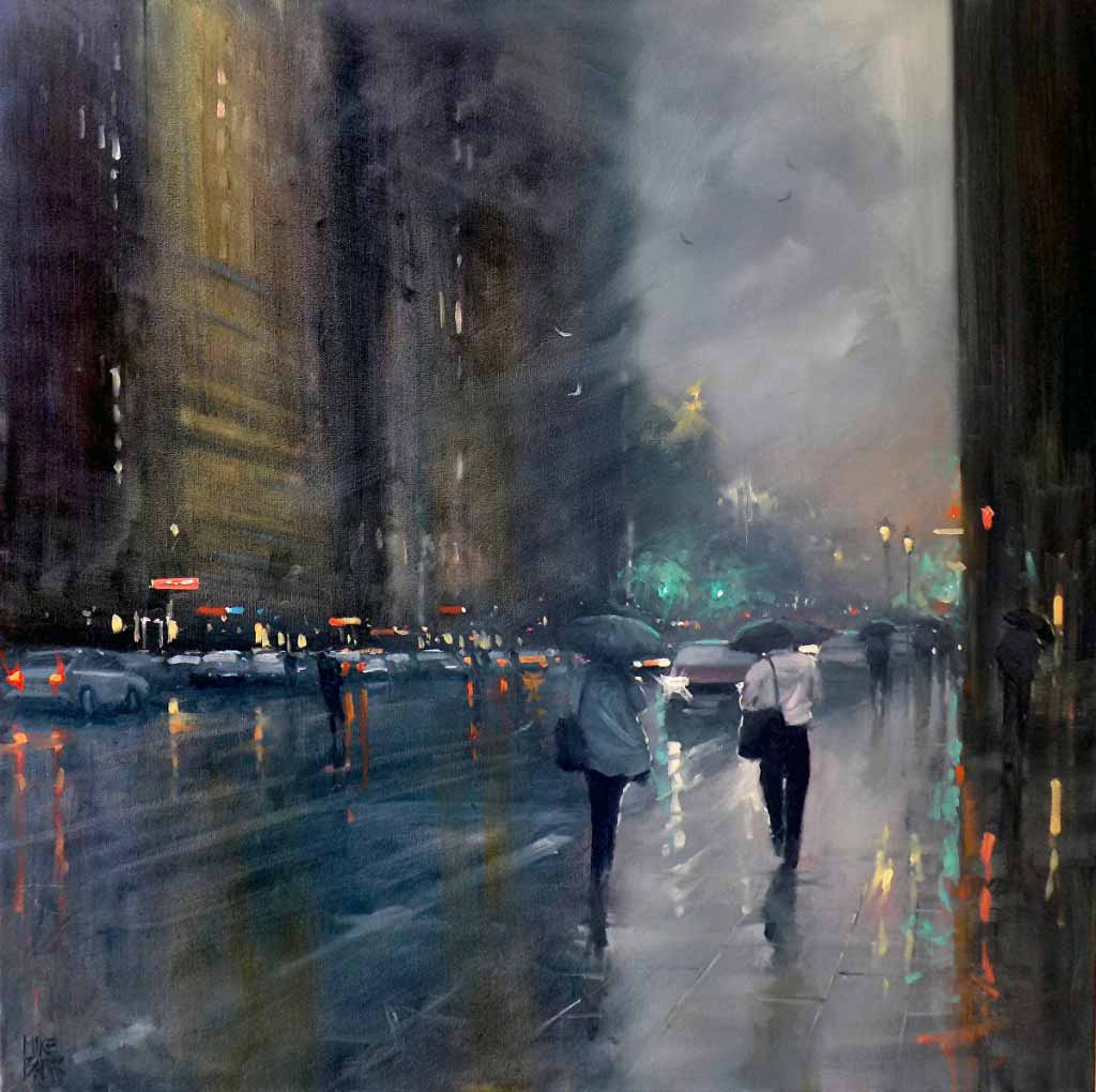 Rainy-day Cityscape Paintings by Mike Barr