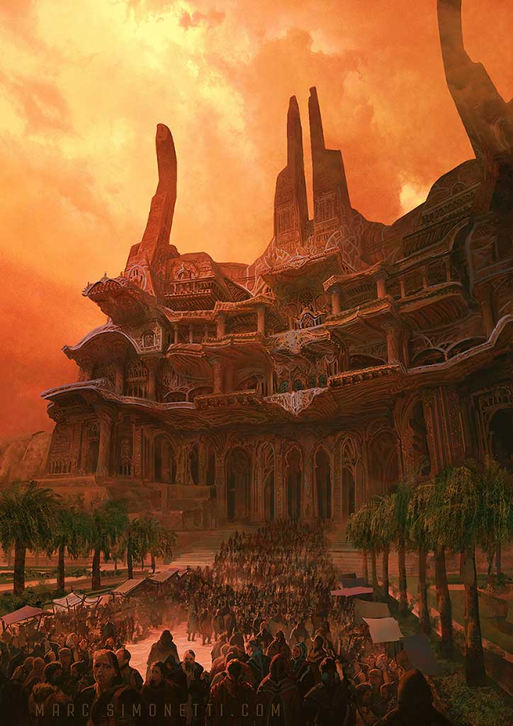 """""""The temple of Alia"""" Interior illustration for """"Dune Messiah"""" by Frank Herbert for Centipede Press"""
