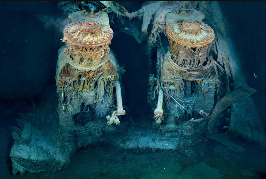 titanic's engines underwater