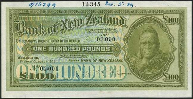1929 Bank of New Zealand Banknote: $11,500