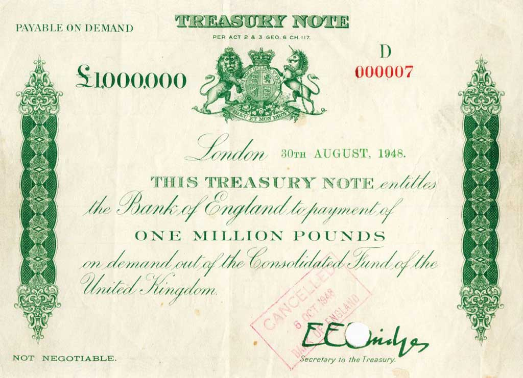 1 million pound banknote: $115,000