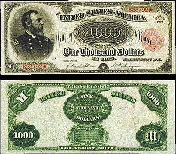 1891 Red Seal $1,000 bill: $2.5 Million
