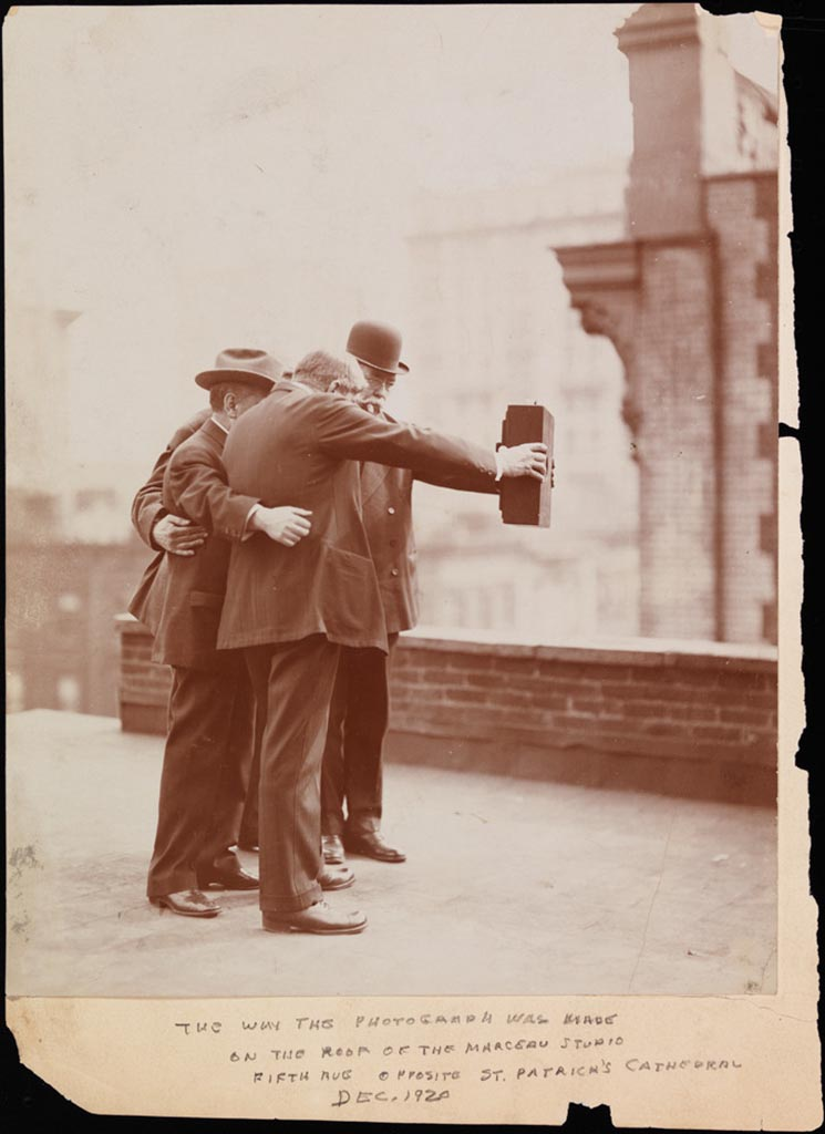Group taking a selfie photo in 1920